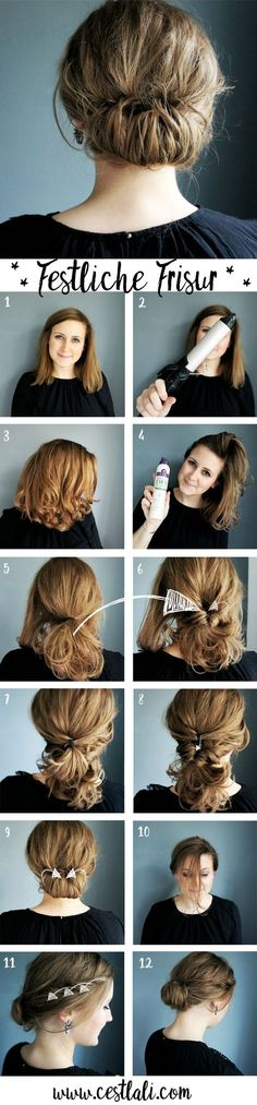 Instructions de coiffure festive - Instructions de coiffure festive Informations About Festliche Frisur Anleitung Pin You can easily us - Bad Hair, Hair Day, Vintage Hairstyles, Easy Hairstyles, Beautiful Hairstyles, Hairstyle Ideas, Tips Belleza, Hair Hacks, Short Hair Cuts
