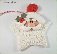 Polymer Clay Star Santa Ornament by michellesclaybeads on Etsy