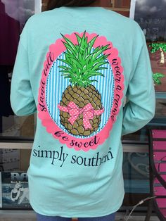Simply Southern Pineapple Long-Sleeve - Aqua from Chocolate Shoe Boutique