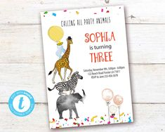 Editable Party Animals Birthday Invitation, Party Animals instant download invitation,You print birthday invitation, Party Animals DIY party Animal Birthday, Diy Birthday, Animal Party, Party Animals, Diy Party, Party Printables, Birthday Celebration, Birthday Invitations, First Birthdays