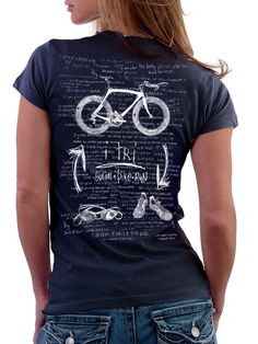 """The background i-deology behind the tee says: Triathlon - mental . the other half physical. Giving it a """"""""tri"""""""", is most of the battle.Our t shirts are screen printed using water based inks giving the print a soft feel that ages over time with the Sprint Triathlon Training, Triathlon Gear, Ironman Triathlon Motivation, Triathlon Women, Training Plan, Training Tips, Cycling T Shirts, Cycling Outfits, Cycling Gear"""