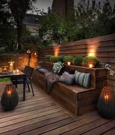 Creating a truly modern garden lighting design can add so much to your home. All types of properties can benefit from a garden lighting make. Built In Garden Seating, Backyard Seating, Outdoor Seating Areas, Backyard Patio, Rooftop Patio, Veranda Design, Terrace Design, Patio Design, Back Yard Design