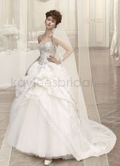 Taffeta Ball Gown Tulle Strapless Sweetheart Neckline Lace Appliqued Bodice Wedding Dress