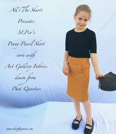 Penny Pencil Skirt sewn by Skirt Fixation using Art Gallery Fabrics Denim from Phat Quarters. A perfect denim skirt for a little girl! Also a link up and a giveaway! Girl Skirts, Modest Skirts, Sewing Patterns Girls, Skirt Patterns Sewing, Art Gallery Fabrics, Grandkids, Denim Skirt, Dress Skirt