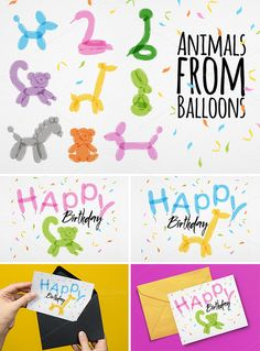 Animals Balloons by Anna > Set of #birthday #animal #balloons (dog, swan, dachshund, giraffe, lemur, rabbit, bear, horse, snake and greeting card) made by color balloons.