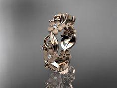 14kt rose gold diamond flower wedding ring