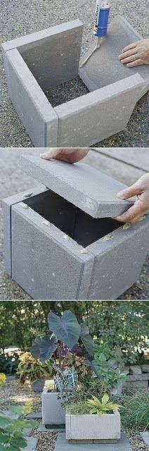 Homemade cement planters using patio blocks