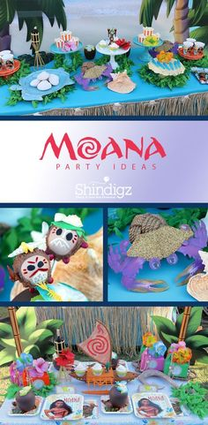 Our Moana birthday party supplies include dozens of decorations to make your ocean adventurer feel ready to take the open waters. Luau Birthday, Disney Birthday, 6th Birthday Parties, Birthday Ideas, Party Fiesta, Luau Party, Hawai Party, Moana Themed Party, Moana Birthday Party Theme