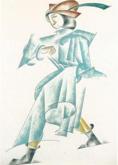 Liubov Popova Projet de costume pour un Homme en vert, lpume au chapeau / Costume design for a Man in green, with a feather in cap Tragédie Roméo et Juliette / Romeo and Juliet tragedy Aquarelle et crayon / Watercolour and pencil 35.6 x 26 cm Vers / Circa 1920