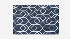 Geo Outline Rug Navy. Geometric rug, navy blue and white.