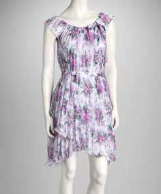 Take a look at this Purple & White Floral Asymmetrical Tier Dress by Buy in America on #zulily today!