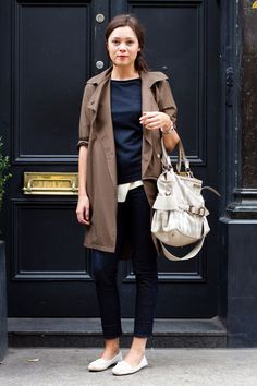 """A very """"Sari"""" outfit. I have a trench coat that I hate to ever take off. The hem is turning black and I don't care. Also love this slouchy bag."""