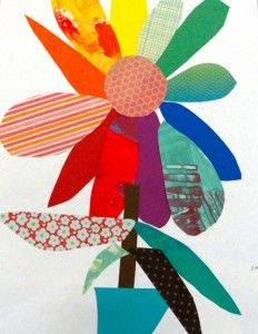Start with 3 primary petals and have children fill in with paper scraps to make color wheel