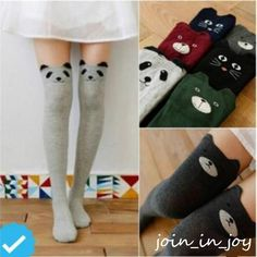 19dafa075 Details about Women Kawaii 3D Lovely Cartoon Animal Thigh Stockings Over Knee  High Long Socks