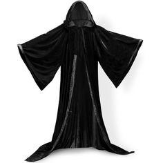 PingFeng Wizard Robe Velvet Hood Cloak Wicca LARP Goth Costume Blacks ($58) ❤ liked on Polyvore featuring costumes, gothic lolita costume, black costume, gothic halloween costumes, gothic costumes and goth costume