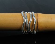 Ocean Waves silver stacking rings wavy stackable by beachgirlmaui.