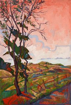 Geometric, dramatic oil painting of Paso Robles, by Erin Hanson