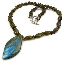 Stunning Shine Labradorite Smokey Topaz Necklace by CherryGemstone, $5.99