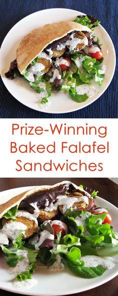 Baked Falafel Sandwiches with Creamy Dairy-Free Yogurt Sauce (vegan, soy-free, gluten-free option)