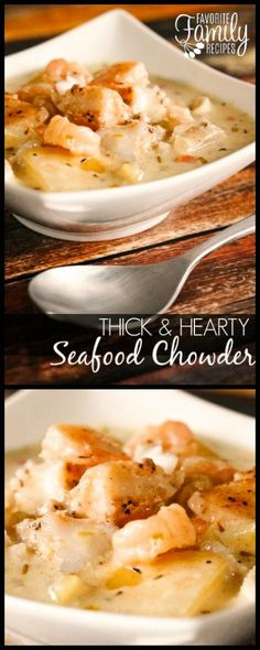 With big chunks of seasoned fish and potatoes, this is hands down the best Seafood Chowder recipe ever. It is thick, creamy, and full of flavor. Thick and Hearty Seafood Chowder garrydavid Fish Recipes With b Best Seafood Chowder Recipe, Seafood Stew, Seafood Dishes, Seafood Boil, Seafood Soup Recipes, Seafood Bisque, Fish And Seafood, Cod Chowder Recipe, Gastronomia