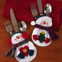 Santa Snowman Christmas Silverware Holder Pocket Holiday Party Decor New Christmas Sewing, Christmas Snowman, Christmas Stockings, Christmas Holidays, Christmas Decorations, Christmas Ornaments, Christmas Candy, Christmas Felt Crafts, Christmas Bazaar Ideas