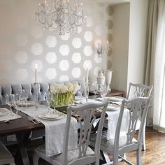 Sarah Richardson Design - dining rooms - wallpapered alcove, metallic gold wallpaper, floral gold wallpaper, ivory and gold floral wallpaper, alcove, built-in banquette, banquette, seating, hardwood floors, linen drapes, linen draperies, linen curtains, floor length drapes, c