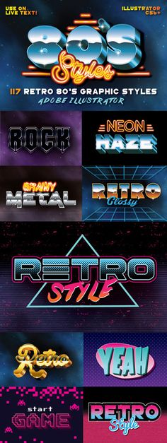 117 Retro Text Styles for Photoshop by designdell Web Design, Retro Design, Logo Design, Typography Fonts, Typography Design, Lettering, 80s Logo, Vaporwave, Retro Waves