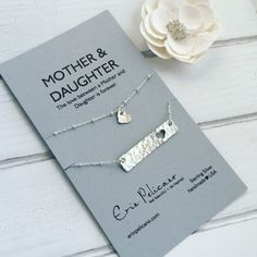 Mom Necklace Gift Mother Daughter Bar Set Birthday
