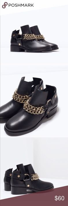 Zara leather booties with chain Brand new with tag Zara Shoes