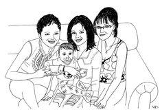 The whole heart of Istvánné Rácz and her beautiful family :) Pencil, felt pen