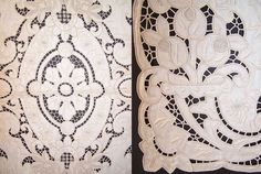 Vintage Madeira Embroidered Linen Lace Cutwork Runner & Placemat Set