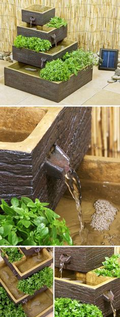 22 diy cascading planter garden projects садоводство, сад, ф Outdoor Water Features, Backyard Water Feature, Herb Planters, Solar Water, Garden Fountains, Diy Garden Projects, Garden Pool, Herb Garden, Pool Landscaping