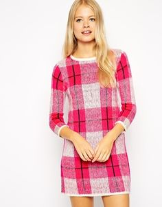 Fashion Union Knitted Dress In Brushed Check