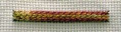 Version 2 step 5. Restart at the top of the ladder and work row upon row until the foundation ladder is packed. Raised Chain V2 step 6As you can see this stitch looks very effective in a hand dyed multicoloured thread.