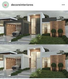 Pin by Snofrancois on House exterior in automatic alt text available. Modern Bungalow House, Modern House Facades, Modern Architecture House, Modern House Plans, Architecture Design, House Front Design, Modern House Design, Modern Exterior, Exterior Design