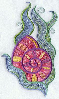 jacobean hand embroidery   Jacobean Nautilus Shell Embroidered Flour Sack Hand/Dish Towel