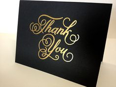 Black Thank You Card, Gold Foil ... luv the elegant look of gold on black ... this would be great with heat embossing too ...