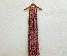 90's Maxi Floral Blush Rose Semi Sheer Tie Back Gown by LexAndLos, $32.00