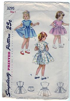 FREE SHIPPING Vintage 1950 Simplicity 3295 Sewing Pattern Child\'s, Girl\'s One-Piece Dress and Panties Size 1. $12.00, via Etsy.