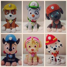 Resultado de imagem para step by step chase paw patrol cake topper Bolo Do Paw Patrol, Paw Patrol Cake Toppers, Cumple Paw Patrol, Paw Patrol Birthday Cake, Paw Patrol Party, Rocky Pat Patrouille, Fondant Animals, Fondant Decorations, Fondant Toppers