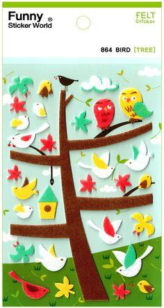 Funny Sticker World Bird Tree Felt Sticker Sheet
