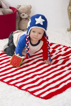 redheartyarns: Patriotic Stripes Blanket & Hat Free...
