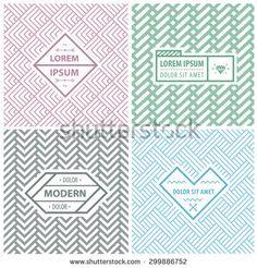 Graphic Design Templates for Logo, Labels and Badges. Abstract Line Patterns Backgrounds. Seamless patterns with geometric abstract shapes