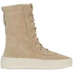 Yeezy Women 20mm Crepe Suede Boots ($715) ❤ liked on Polyvore featuring shoes, boots, beige, suede shoes, adidas originals shoes, lace-up platform boots, suede platform boots and lace up shoes
