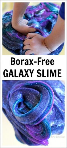 Night Sky Activities for Preschool: Galaxy Slime (Borax-Free) - Twodaloo 1 bottle of Elmer's Clear School Glue (5 oz) 1/2-3/4 cup Sta-Flo Liquid Starch (I found mine at Walmart) Liquid watercolors (several squirts until you get the desired color) Fine glitter in a variety of colors
