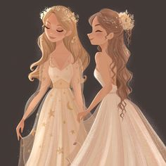 I honestly think this would be Felicity at Agnes' wedding as her maid of honor Art Disney, Disney Kunst, Disney Art Style, Cartoon Art Styles, Cute Art Styles, Aesthetic Drawing, Aesthetic Art, Korean Aesthetic, Aesthetic Anime