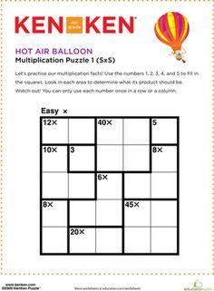Fourth Grade Division Puzzles & Sudoku Multiplication Worksheets: Hot Air Balloon KenKen® Puzzle