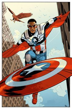 """docshaner: """"From a few weeks ago, a pre-ECCC commission, the All-New Captain America. I'm really enjoying the current run with Sam Wilson as the new Cap. Marvel Art, Marvel Heroes, Marvel Characters, Comic Books Art, Comic Art, Book Art, Marvel Universe, Geeks, Comics Vintage"""