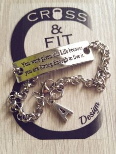 Pulsera You were given this Life because you are Strong Enough tlo live it & Initial letter.Motivation Bracelet,Crossfit,Fitness,Gym,Custom de CrosseFitDesign en Etsy