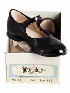 1950's black patent leather Mary Janes - standard issue in winter at our house.